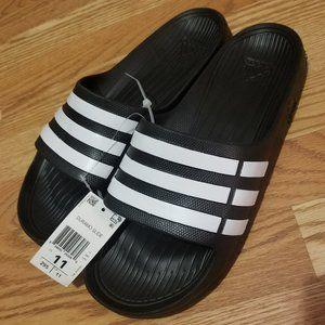 adidas Duramo Men Slides Size 11 NWT Black/ White